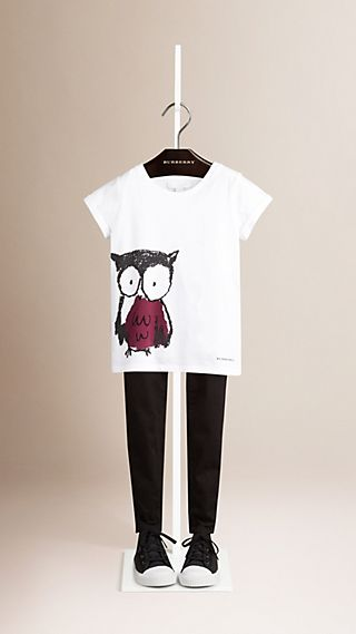 Owl Print Cotton T-shirt