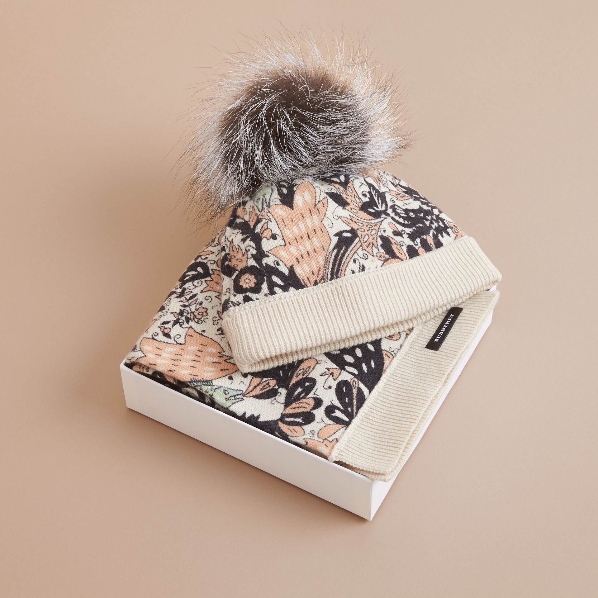 Beasts Print Cashmere and Fox Fur Two-piece Gift Set in Antique Taupe Pink | Burberry - gallery image 3