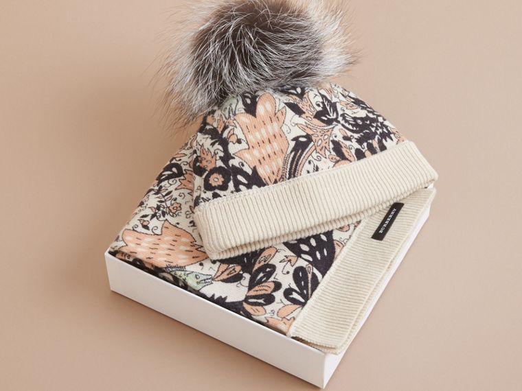 Beasts Print Cashmere and Fox Fur Two-piece Gift Set in Antique Taupe Pink | Burberry - cell image 2