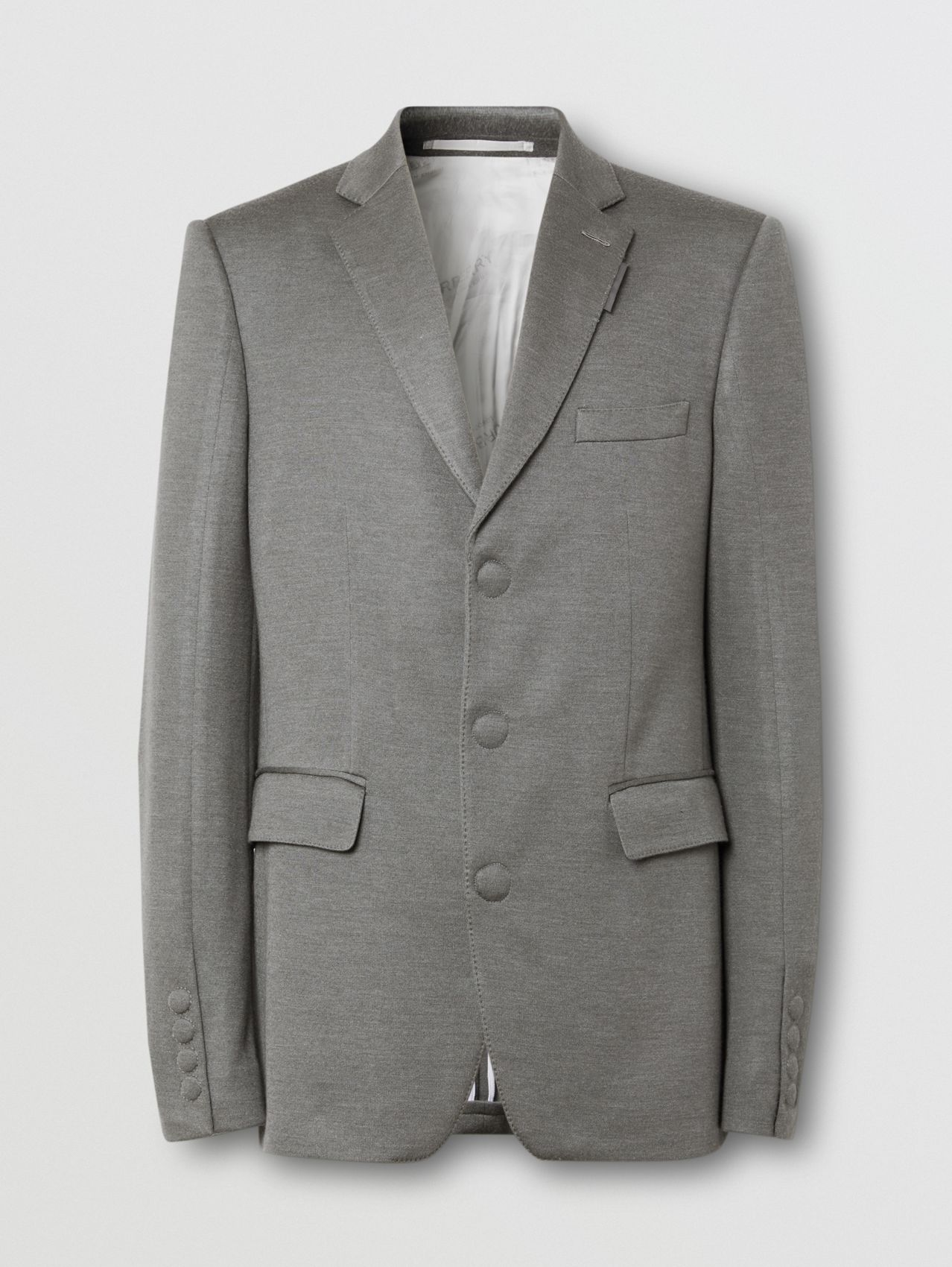 English Fit Cashmere Silk Jersey Tailored Jacket in Cloud Grey