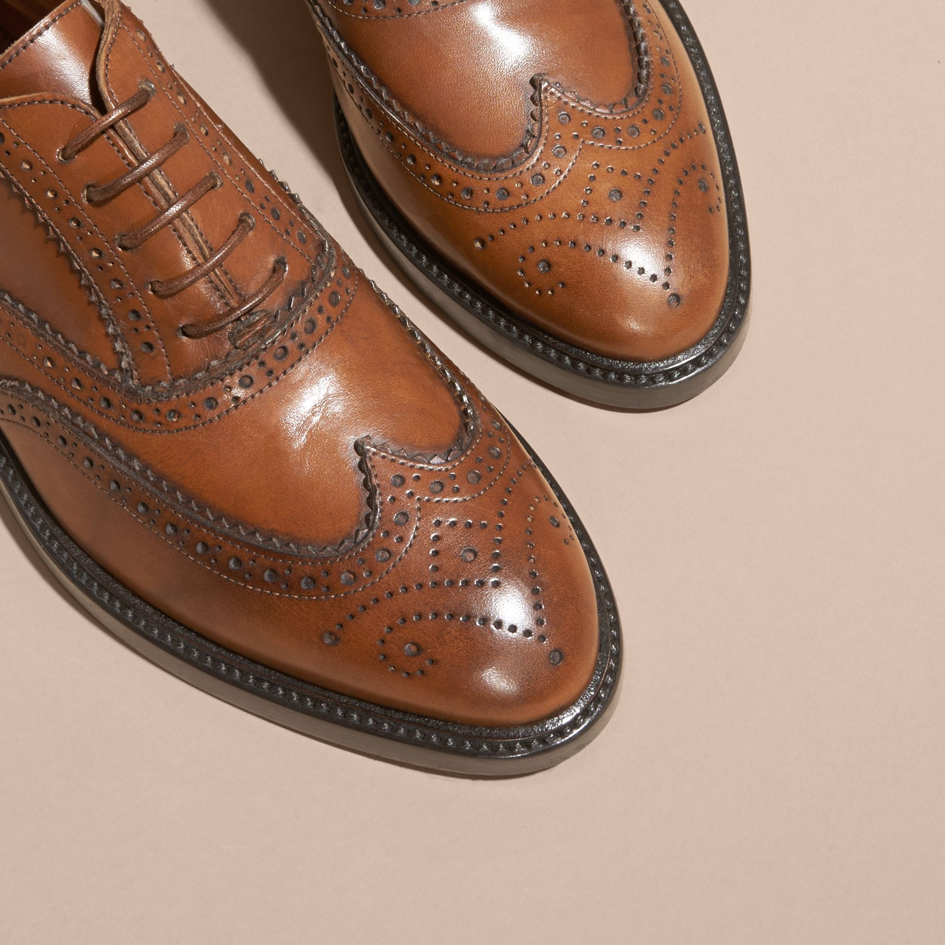 Leather Wingtip Brogues in Bright Camel - gallery image 2