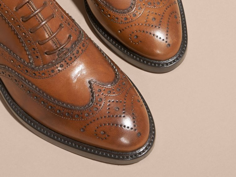 Leather Wingtip Brogues in Bright Camel - Women | Burberry Australia - cell image 1