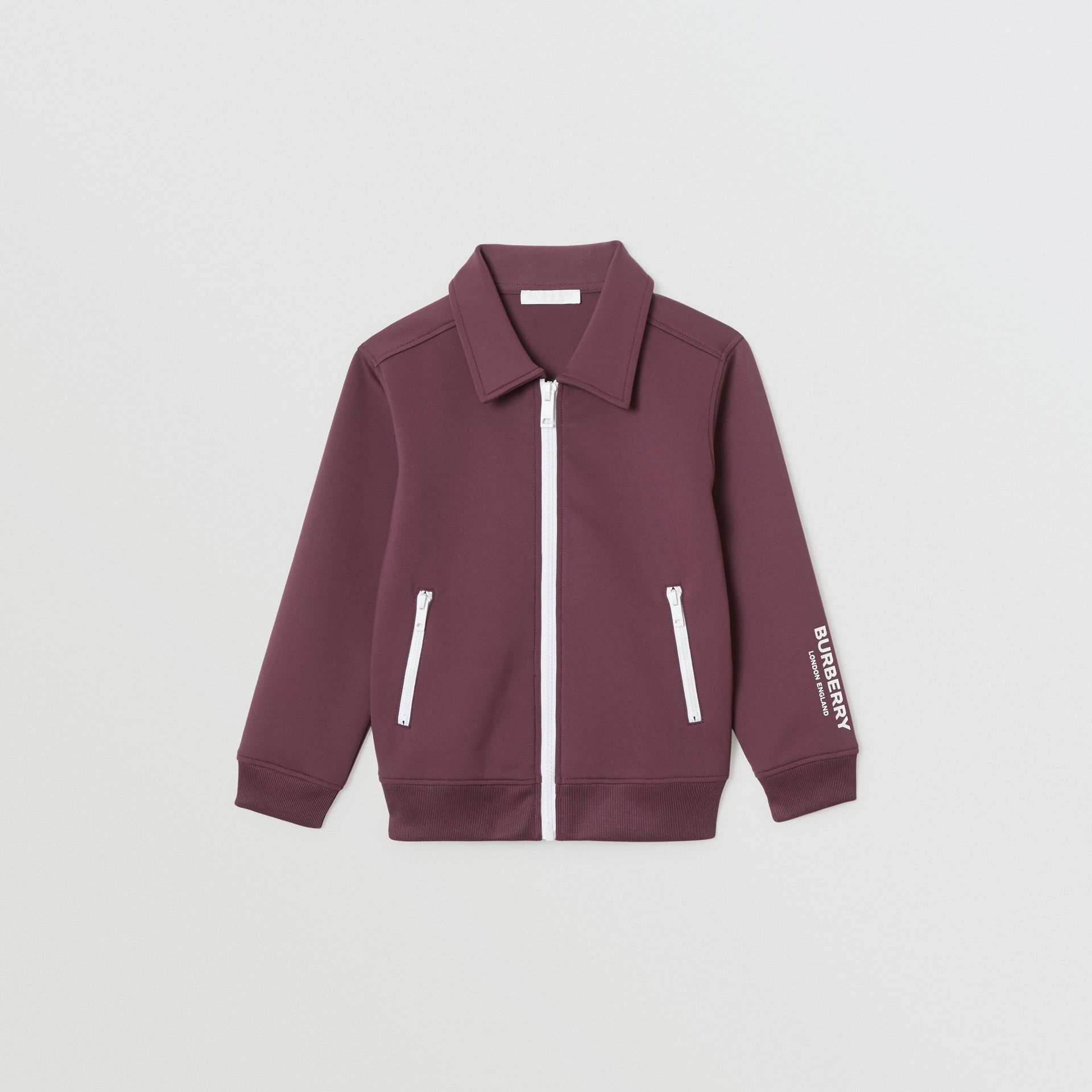 Logo Print Lightweight Track Top in Claret | Burberry - gallery image 0