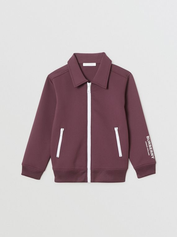 Logo Print Lightweight Track Top in Claret