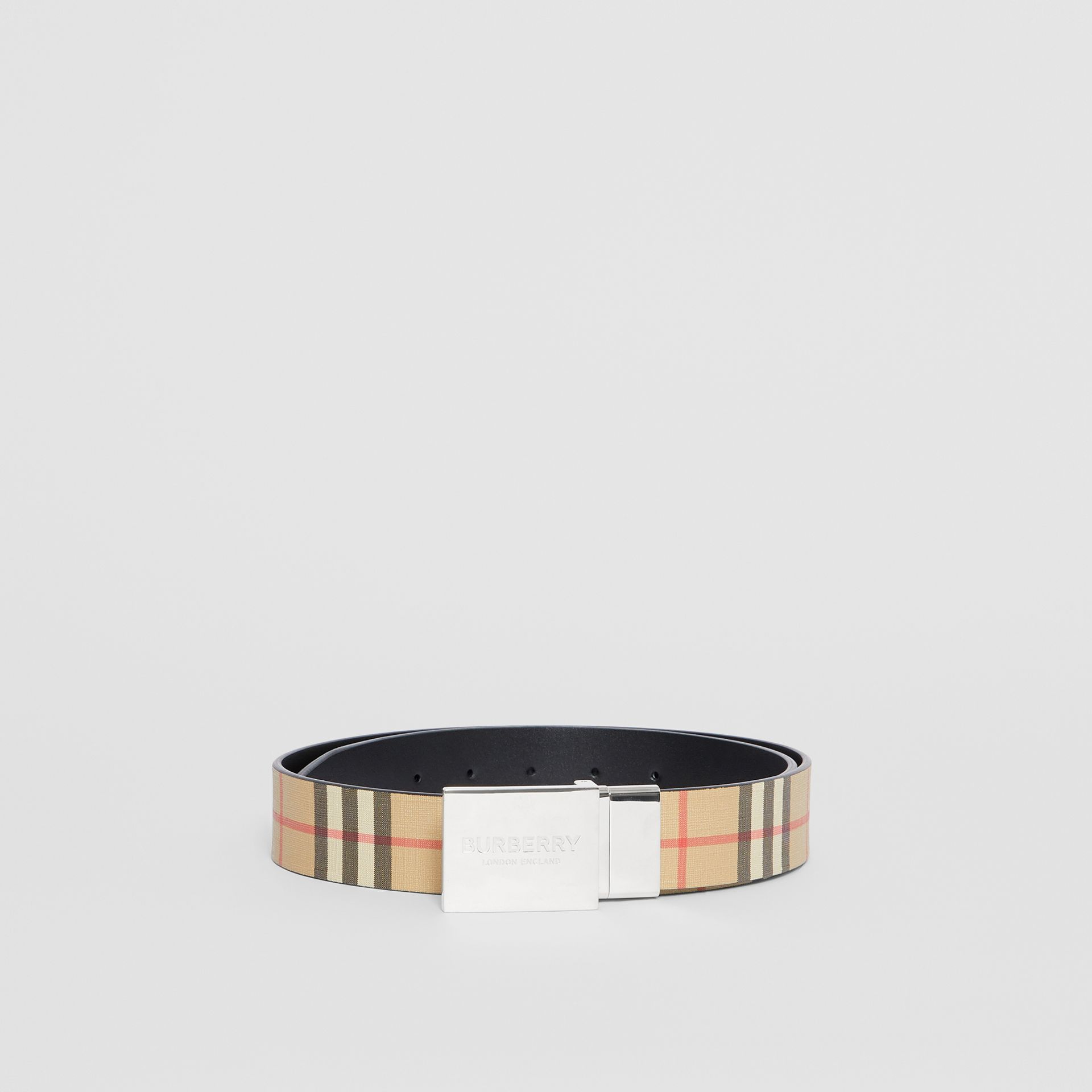Reversible Plaque Buckle Vintage Check E-canvas Belt in Archive Beige - Men | Burberry Australia - gallery image 3