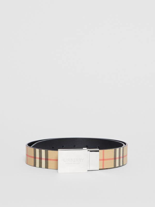 Reversible Plaque Buckle Vintage Check E-canvas Belt in Archive Beige - Men | Burberry Australia - cell image 3
