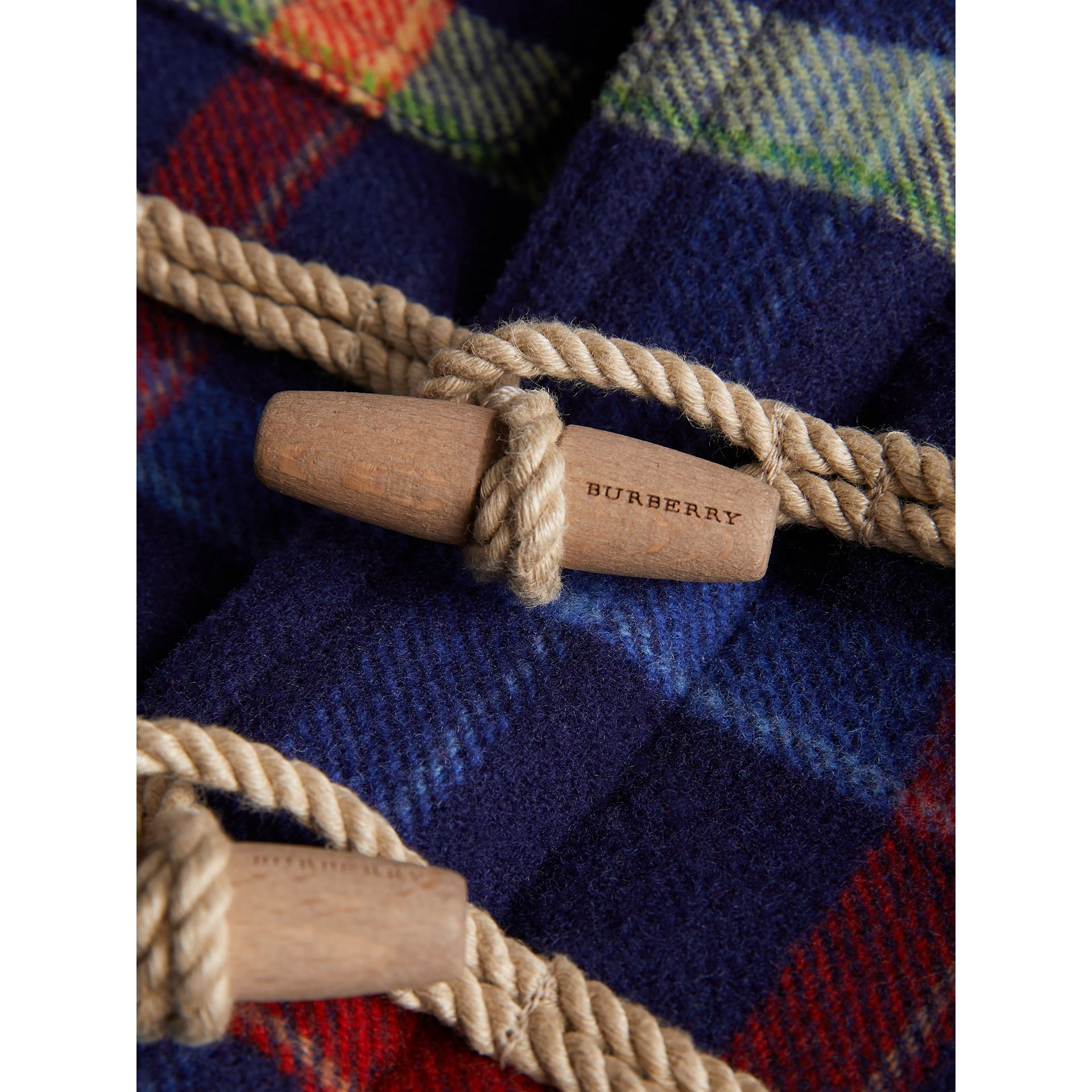 Check Double-faced Wool Duffle Coat in Navy - Children | Burberry United Kingdom - gallery image 1