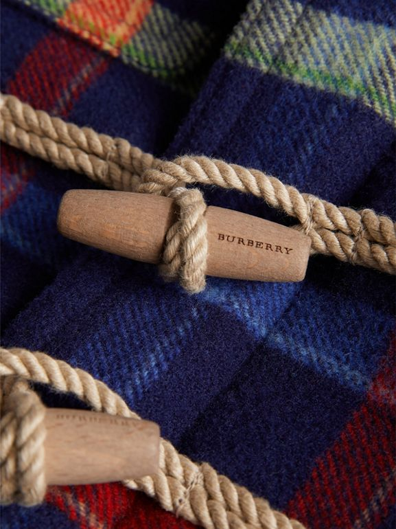 Check Double-faced Wool Duffle Coat in Navy - Children | Burberry United Kingdom - cell image 1