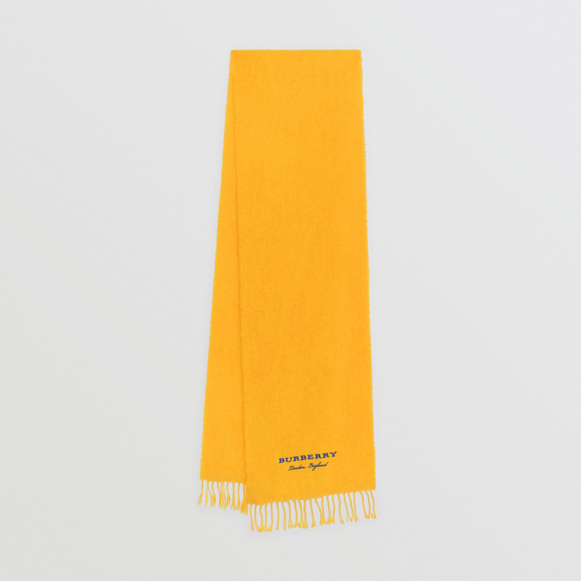 Embroidered Cashmere Fleece Scarf in Saffron Yellow | Burberry Australia - gallery image 0