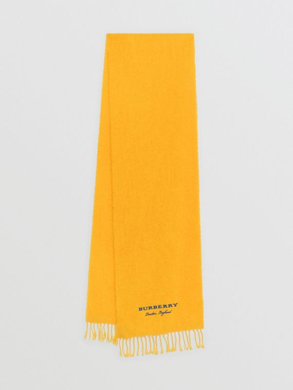 Embroidered Cashmere Fleece Scarf in Saffron Yellow