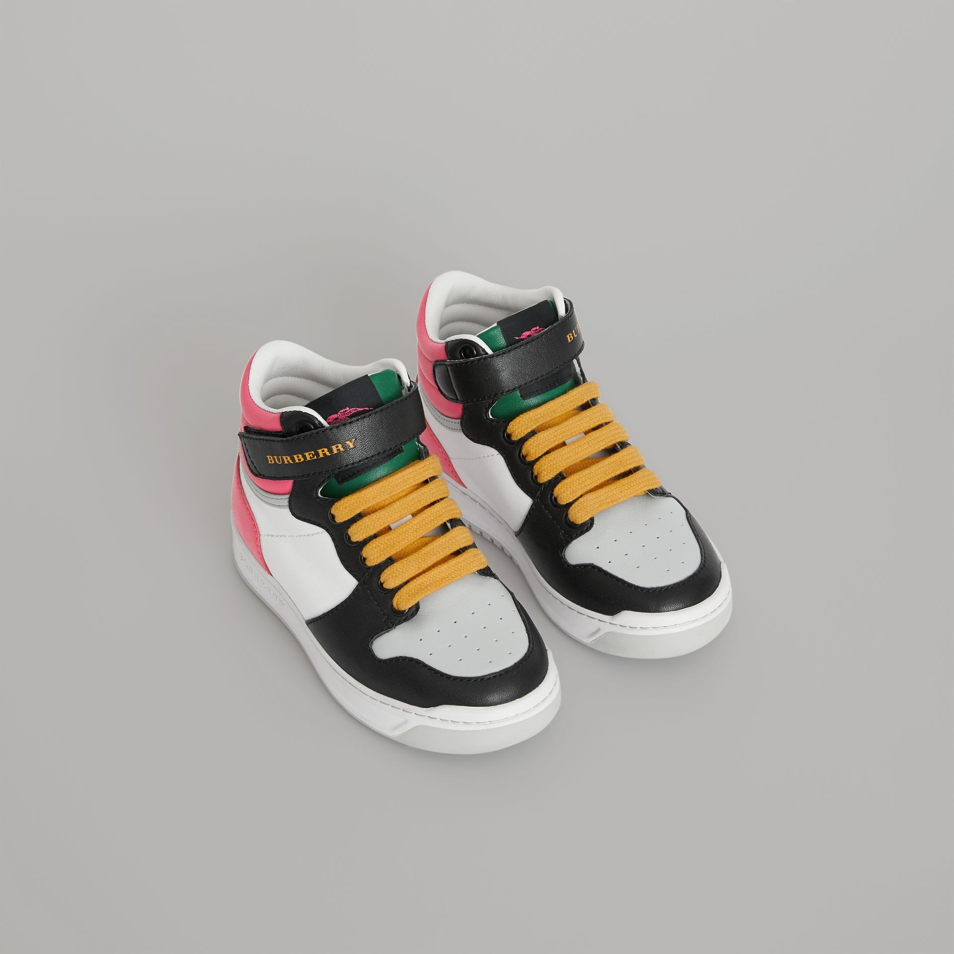 Colour Block Leather High-top Sneakers in Bright Rose - Children | Burberry Hong Kong - gallery image 0