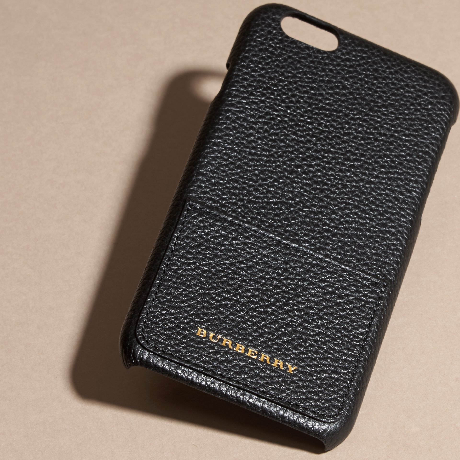 Grainy Leather iPhone 6 Case in Black | Burberry Australia - gallery image 3