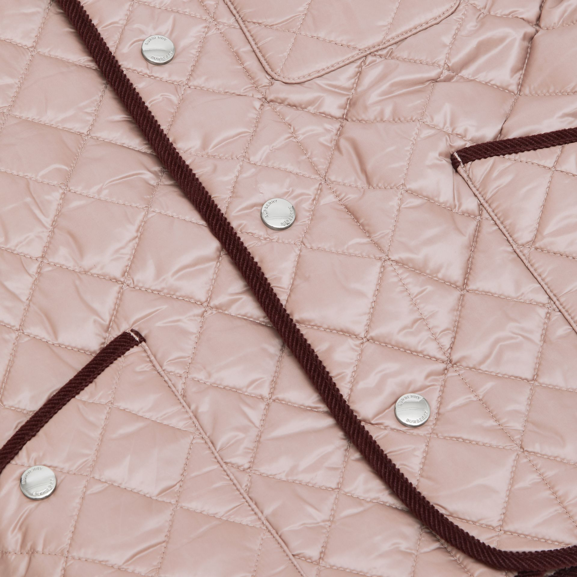 Corduroy Trim Lightweight Diamond Quilted Jacket in Grey Mink | Burberry - gallery image 1