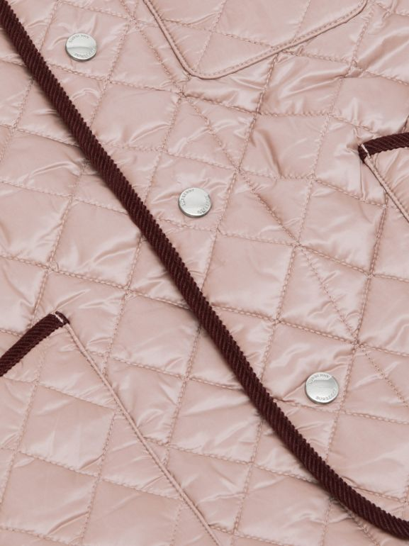 Corduroy Trim Lightweight Diamond Quilted Jacket in Grey Mink | Burberry - cell image 1