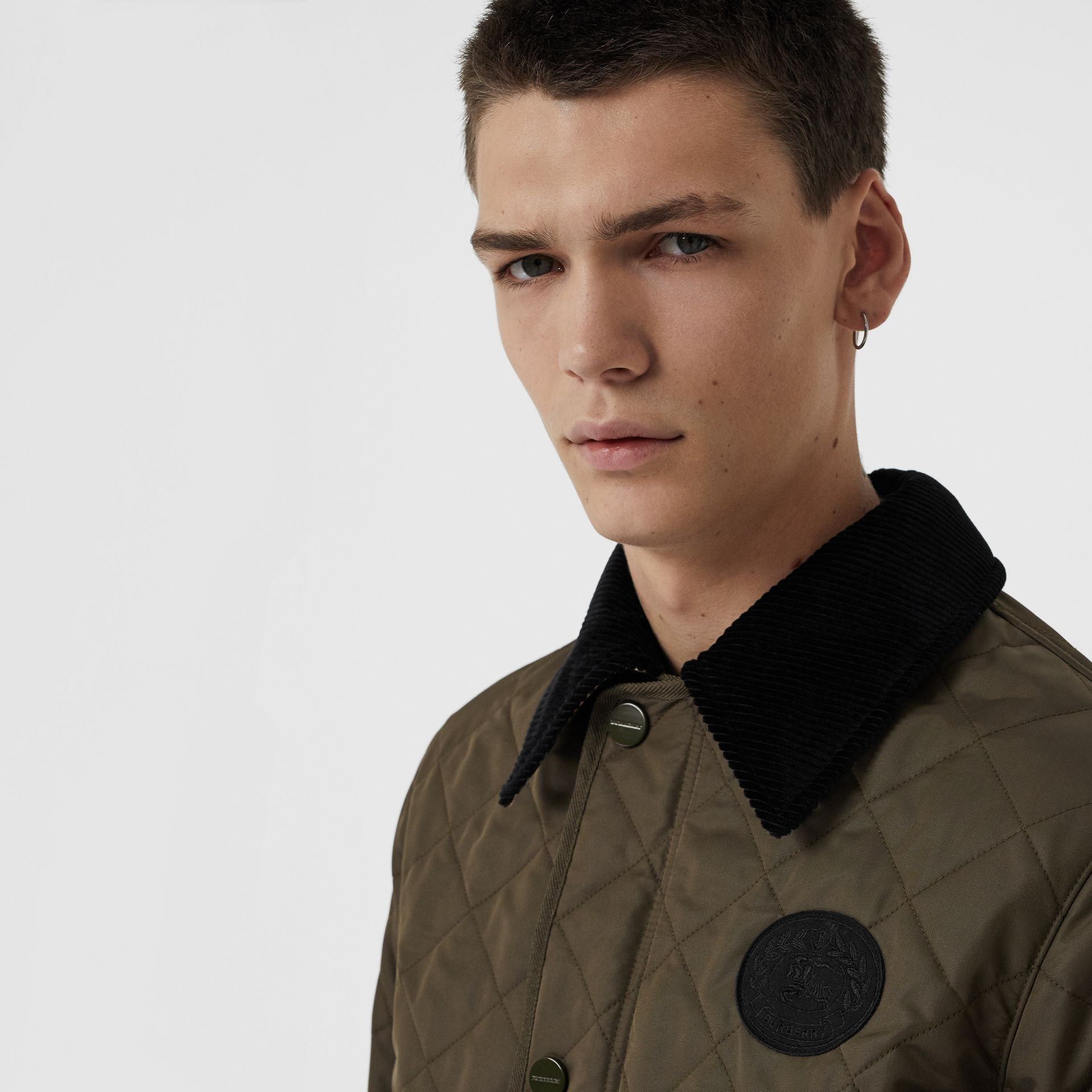 Diamond Quilted Thermoregulated Barn Jacket in Dark Olive - Men | Burberry Canada - gallery image 1