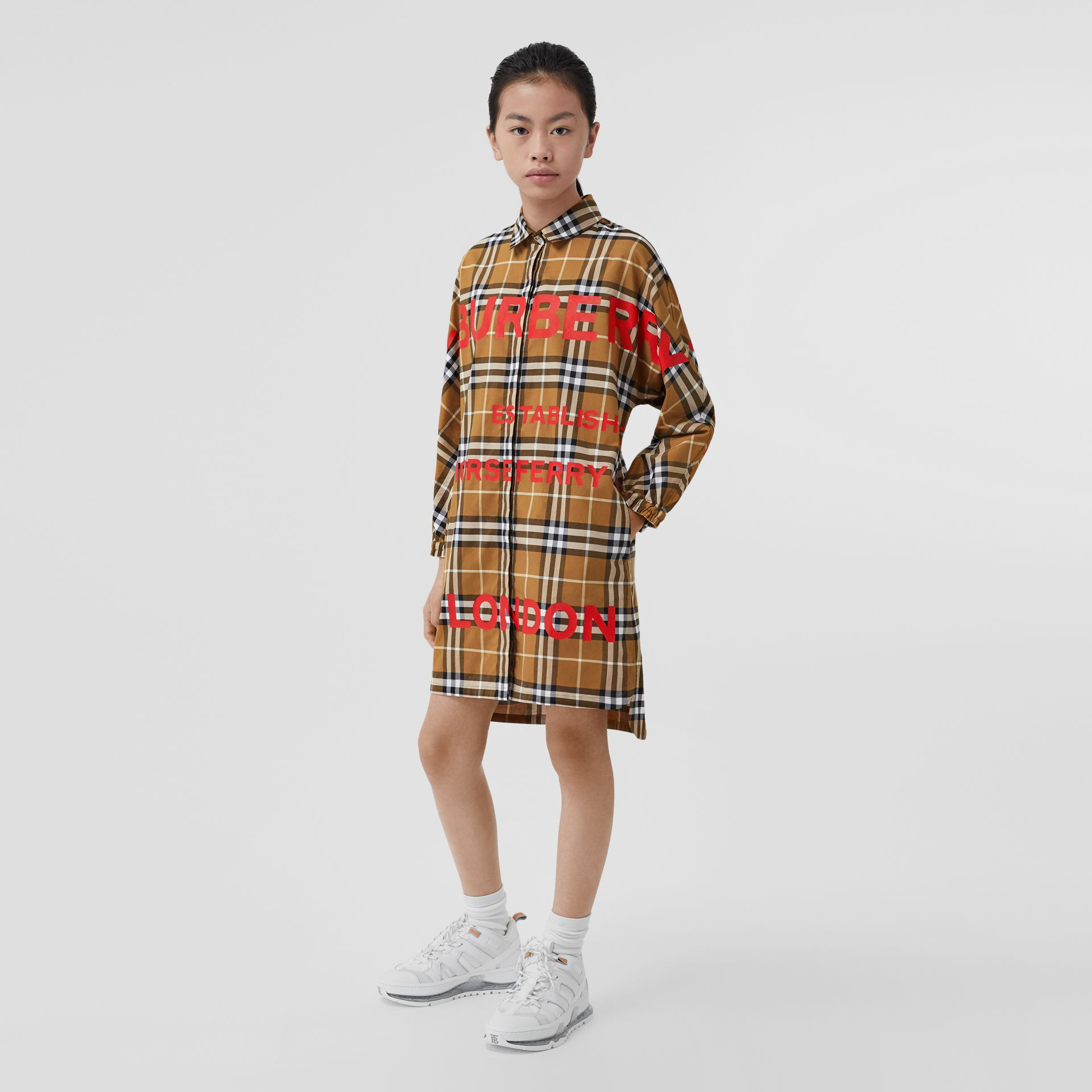 Horseferry Print Check Cotton Shirt Dress in Warm Walnut | Burberry - gallery image 2