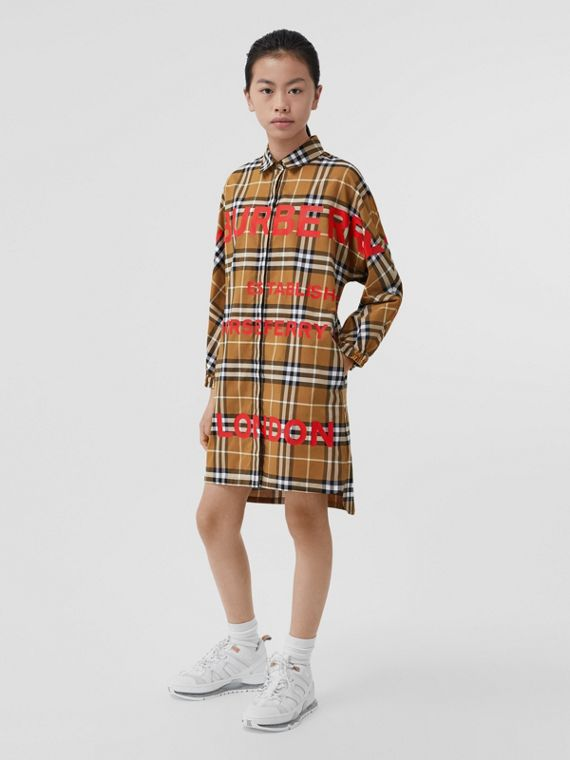 Horseferry Print Check Cotton Shirt Dress in Warm Walnut