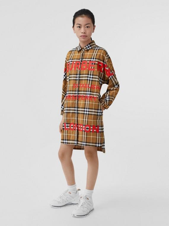 Horseferry 印花格紋棉質襯衫式洋裝 (暖核桃色)