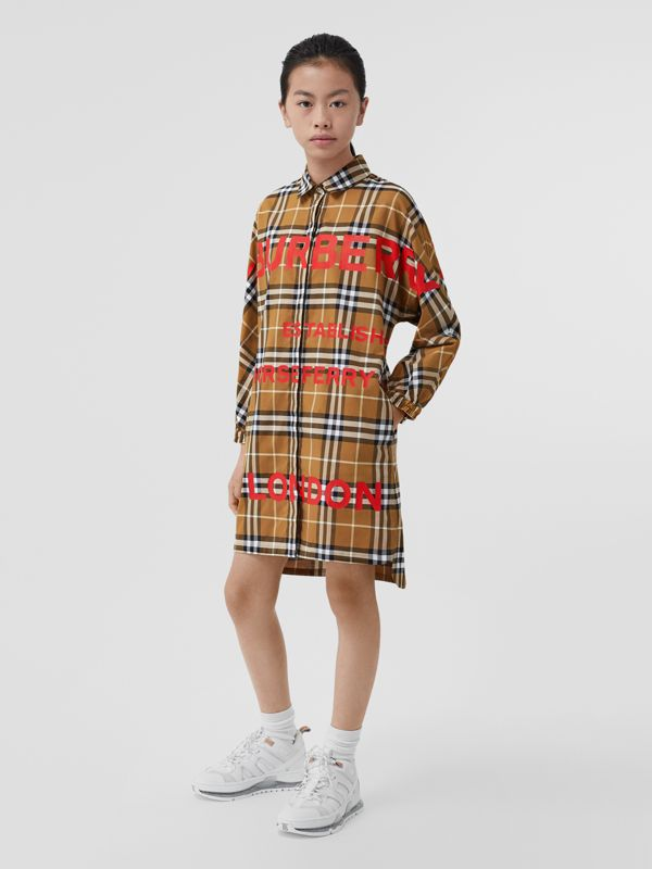 Horseferry Print Check Cotton Shirt Dress in Warm Walnut | Burberry United Kingdom - cell image 2