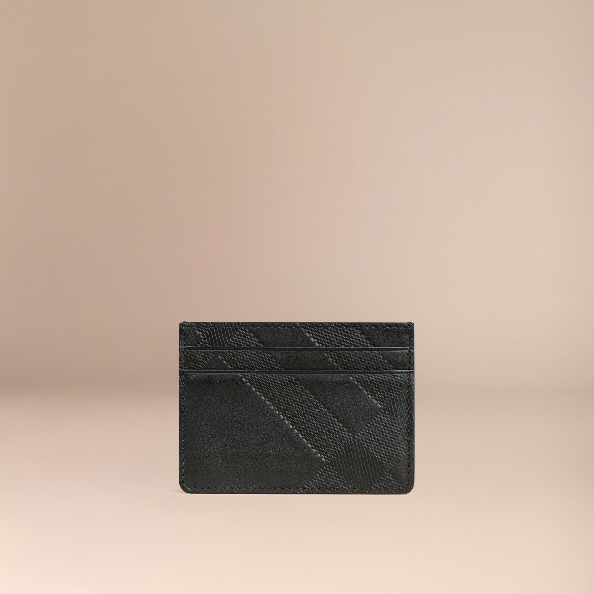 Black Check Embossed Leather Card Case Black - gallery image 3