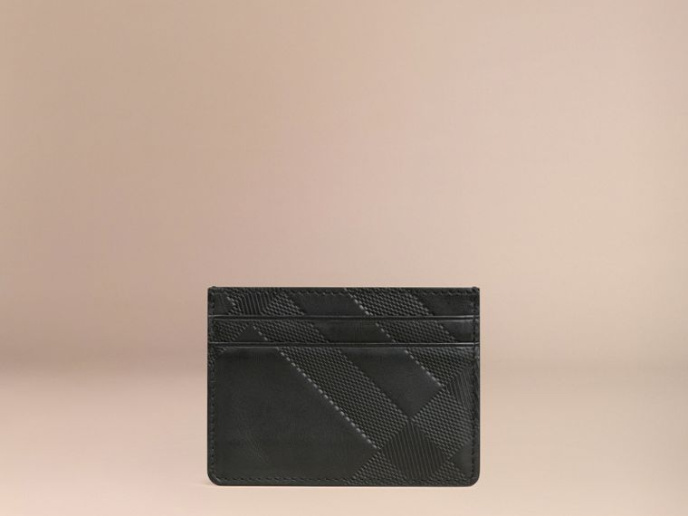 Black Check Embossed Leather Card Case Black - cell image 2