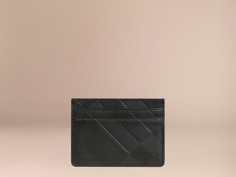 Nero Porta carte di credito in pelle con motivo check in rilievo Nero - cell image 2