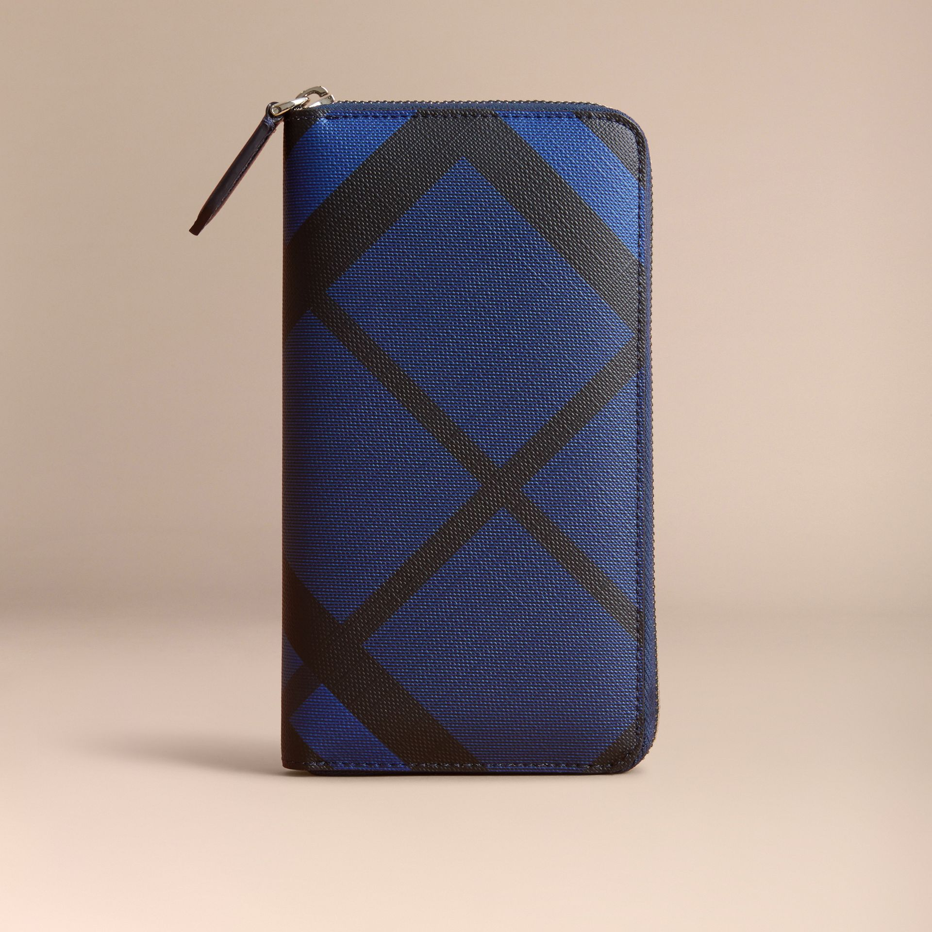 London Check Ziparound Wallet in Bright Lapis - Men | Burberry Singapore - gallery image 6