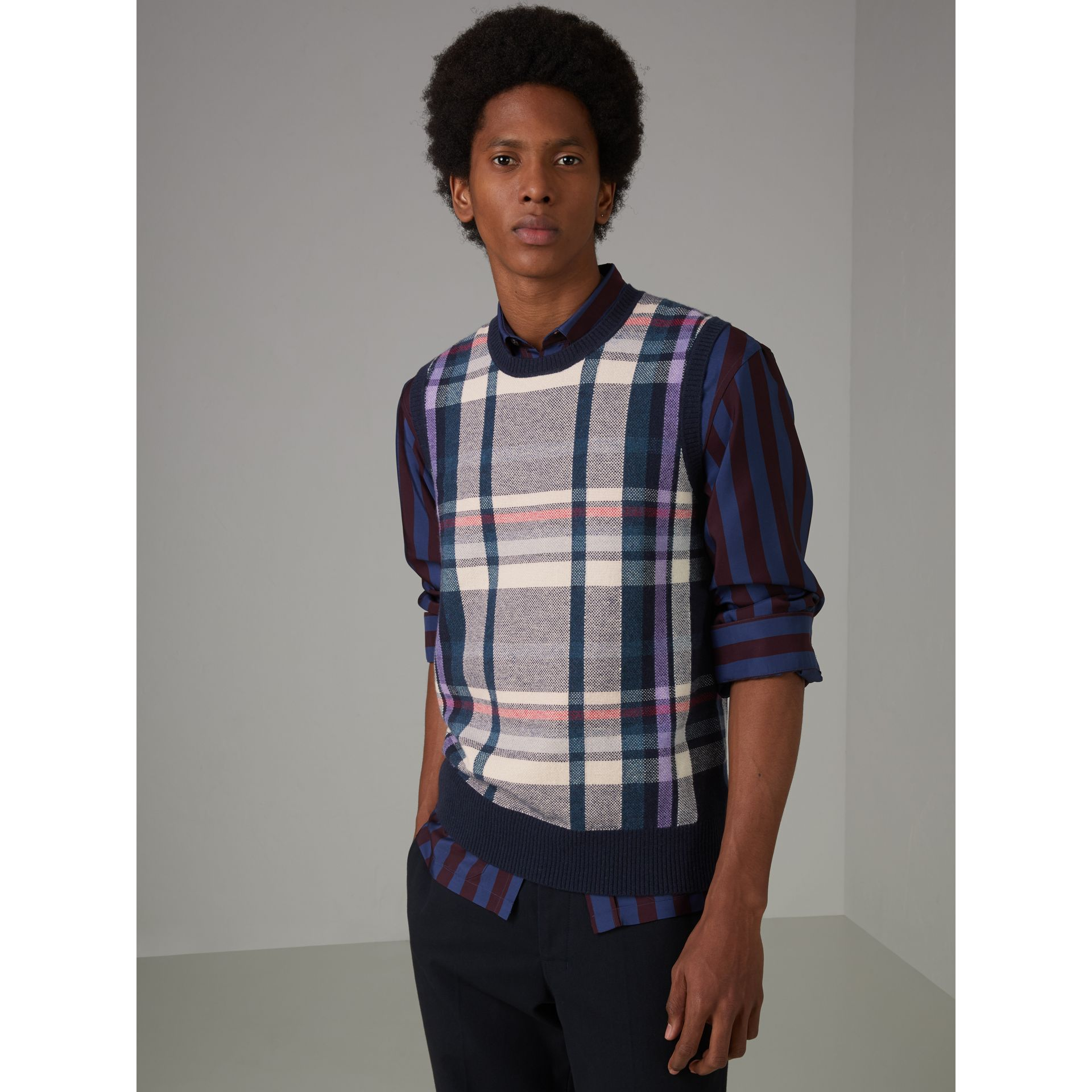 Check Cashmere Tank Top in Bright Navy - Men | Burberry United Kingdom - gallery image 5
