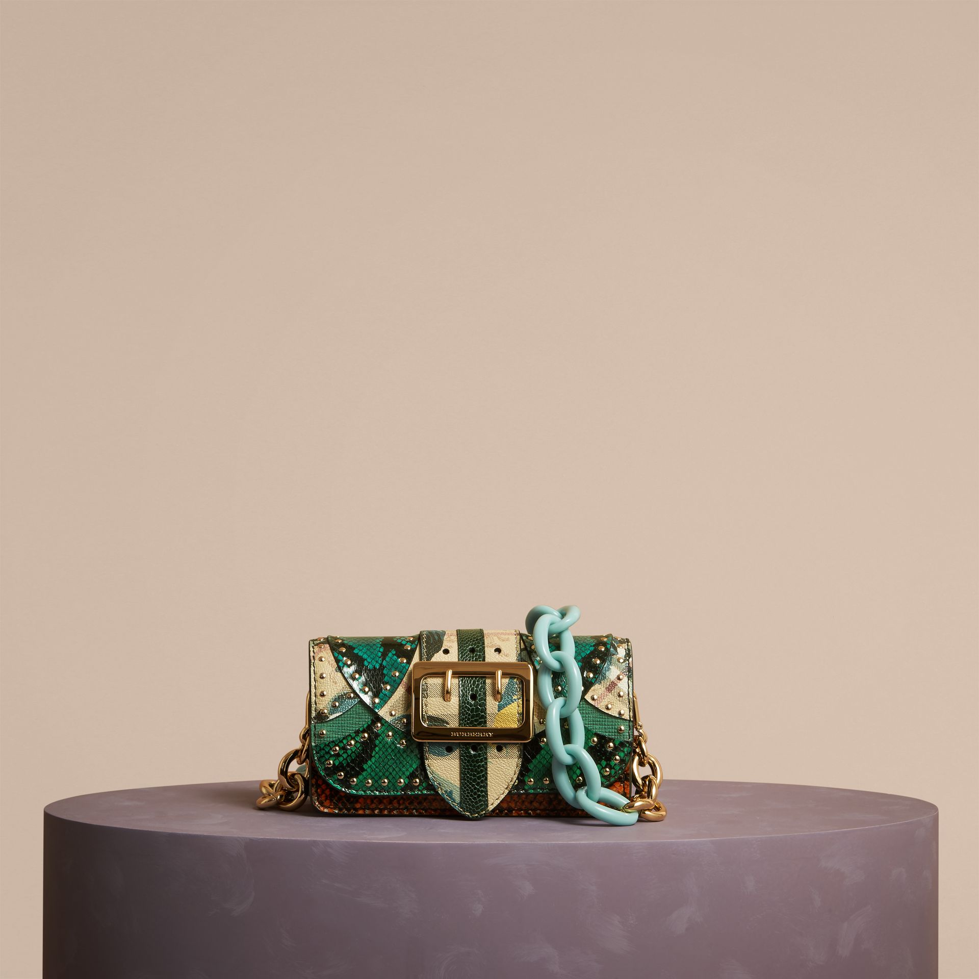 Turquoise The Small Buckle Bag in Riveted Snakeskin and Floral Print - gallery image 7