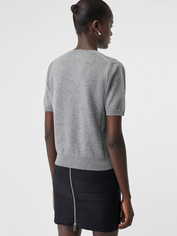 Short-sleeve Logo Detail Cashmere Top in Grey - Women | Burberry - cell image 2