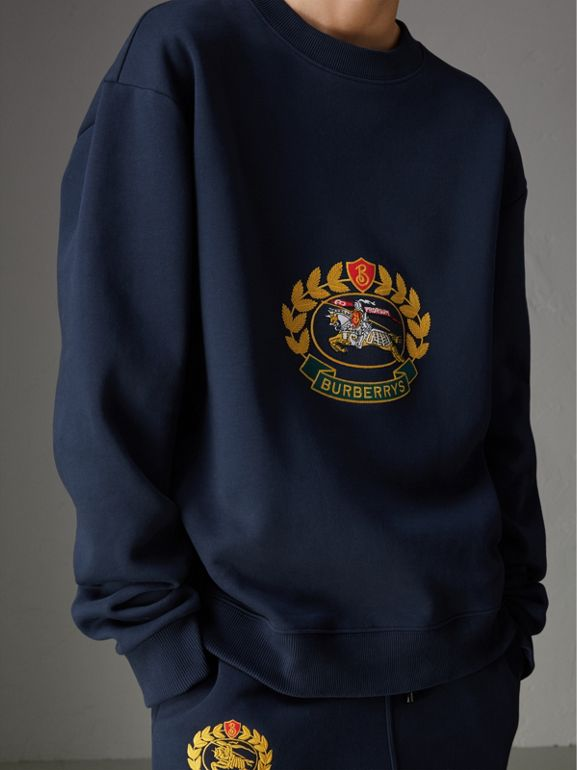 Reissued Jersey Sweatshirt in Dark Blue - Women | Burberry Hong Kong - cell image 1
