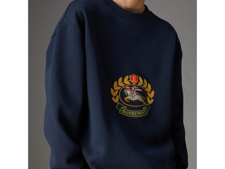 Reissued Jersey Sweatshirt in Dark Blue - Women | Burberry Singapore - cell image 1
