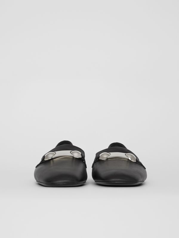 Studded Bar Detail Leather Loafers in Black - Women | Burberry Singapore - cell image 3