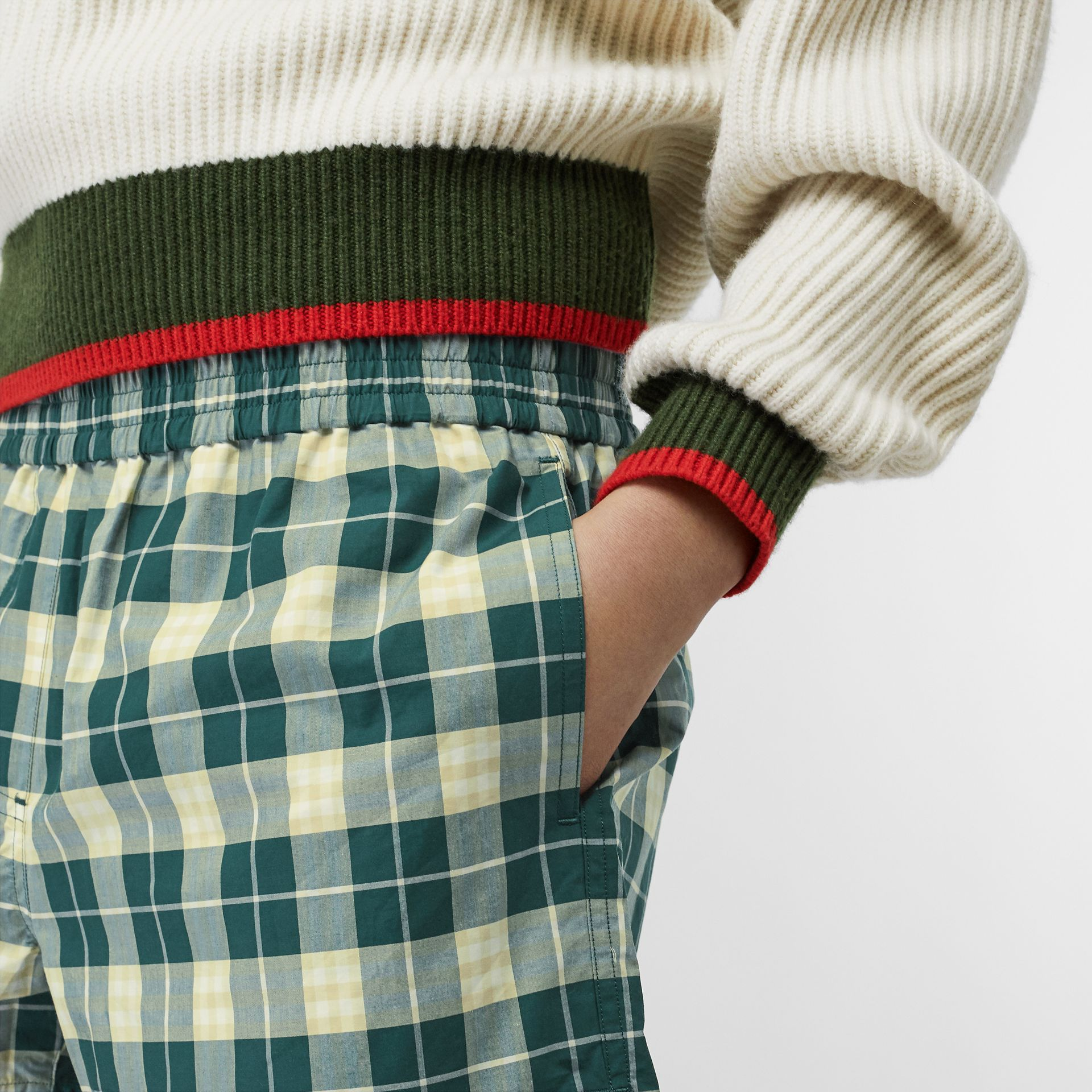 Check Cotton High-waisted Shorts in Dark Cedar - Women | Burberry - gallery image 1