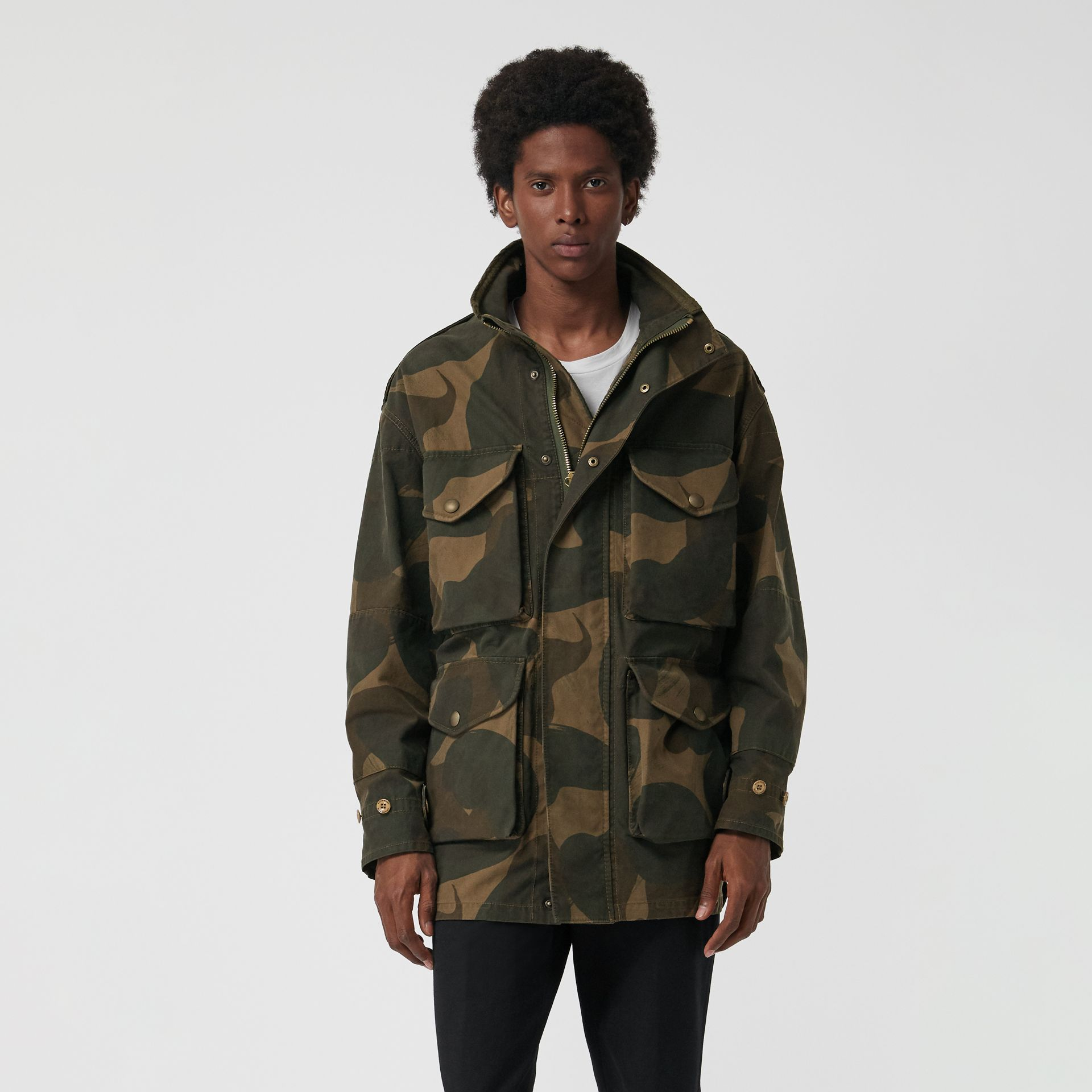 Camouflage Print Cotton Canvas Field Jacket in Khaki - Men | Burberry - gallery image 4
