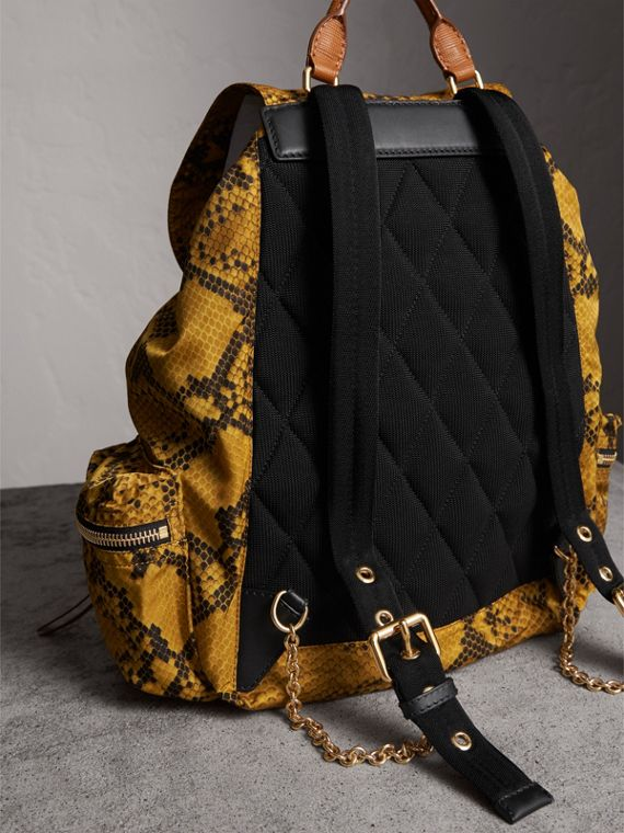 The Large Rucksack in Python Print Nylon and Leather in Yellow - Women | Burberry - cell image 3