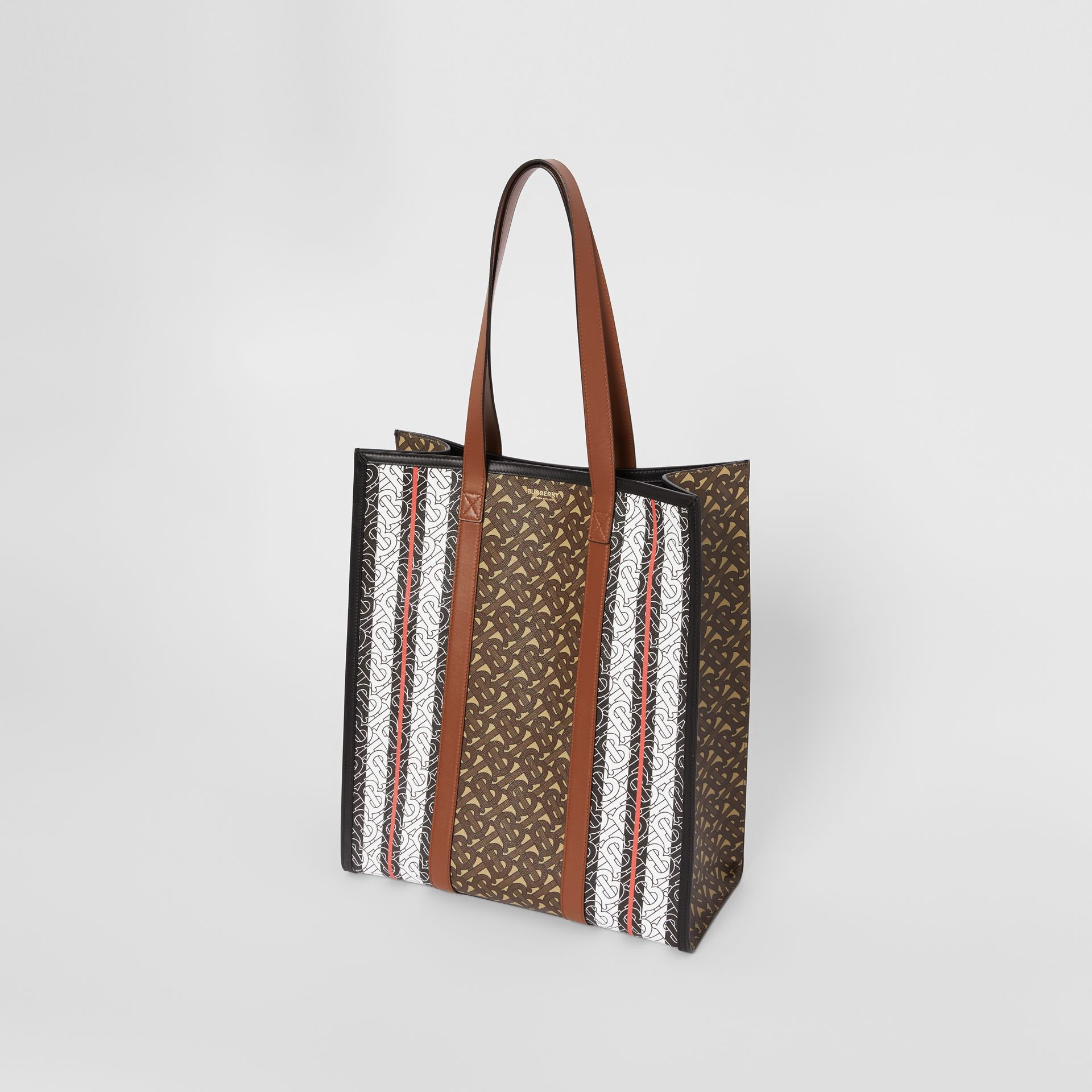 Monogram Stripe E-canvas Portrait Tote Bag in Bridle Brown | Burberry - gallery image 4