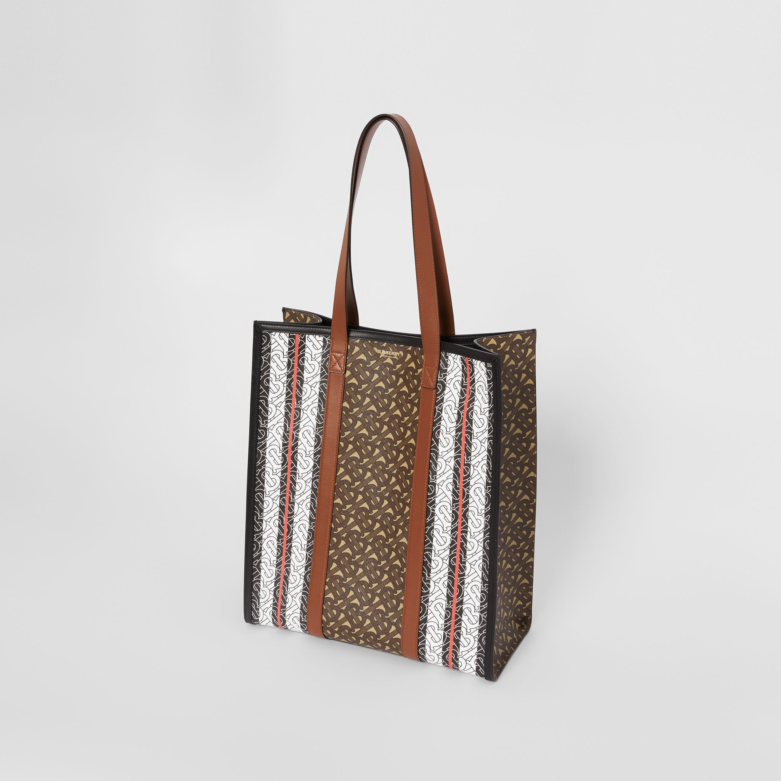 Monogram Stripe E-canvas Portrait Tote Bag in Bridle Brown | Burberry - 4