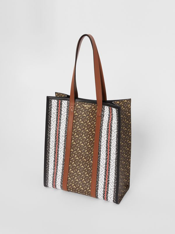 Monogram Stripe E-canvas Portrait Tote Bag in Bridle Brown | Burberry - cell image 3
