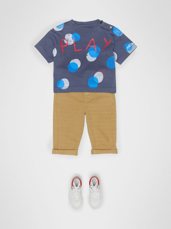 Oversized Spot Print Cotton T-shirt in Navy Melange - Children | Burberry Canada - cell image 2
