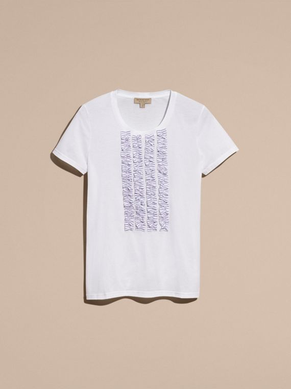 White Cotton T-Shirt with Ruffled Bib - cell image 3