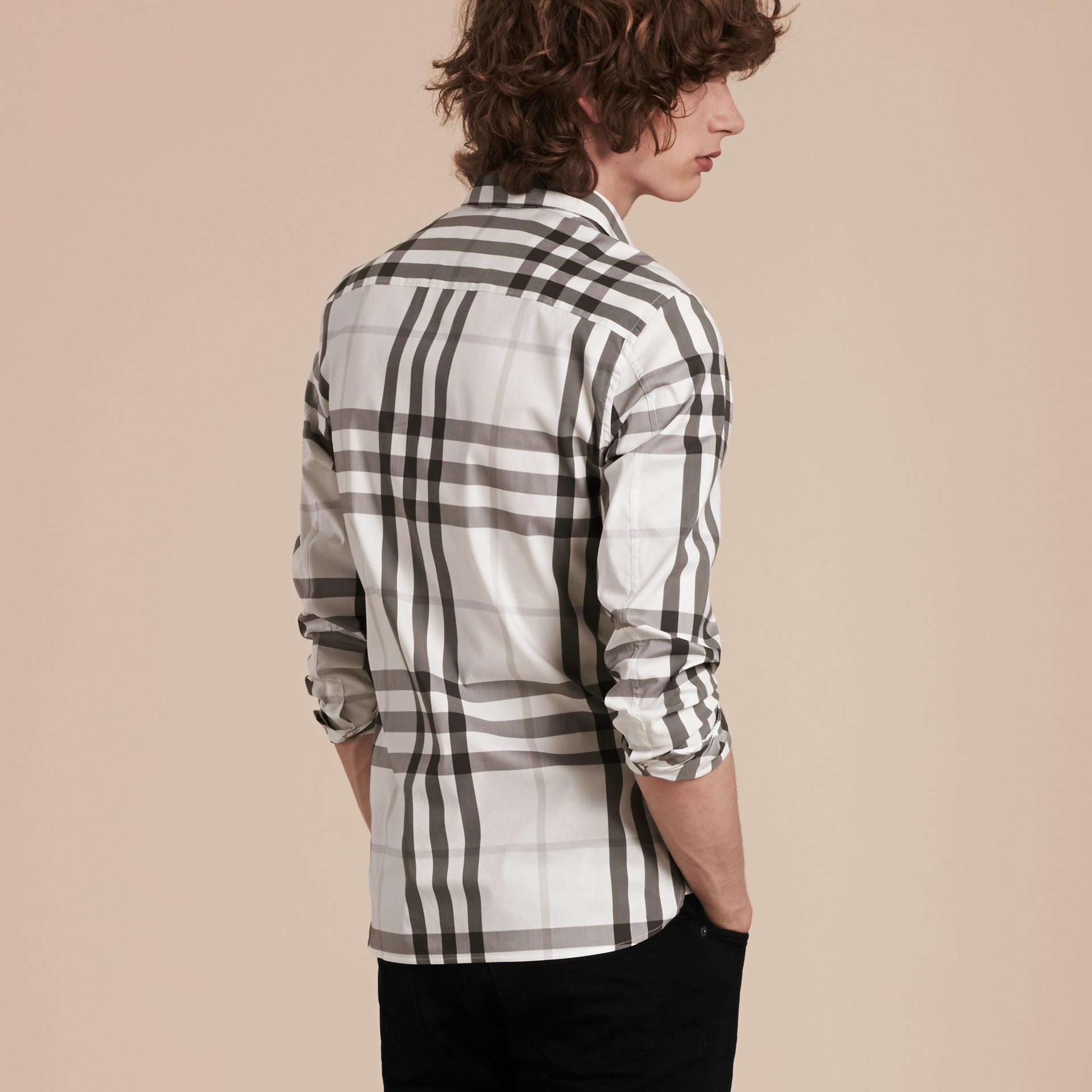 Bianco naturale Camicia in cotone stretch con motivo check Bianco Naturale - immagine della galleria 1