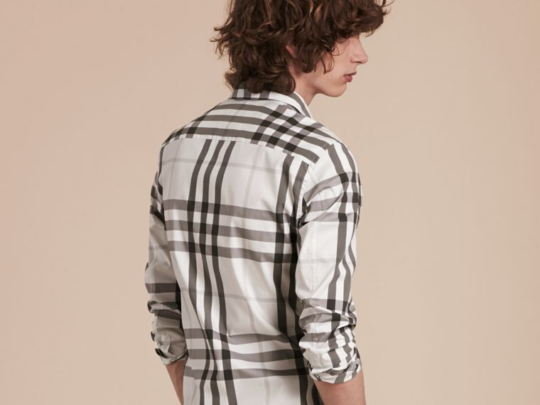 Natural white Check Stretch Cotton Shirt Natural White - cell image 1