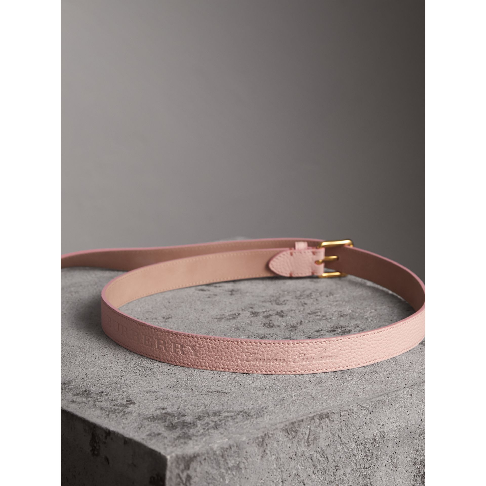 Embossed Leather Belt in Pale Ash Rose - Women | Burberry United Kingdom - gallery image 3