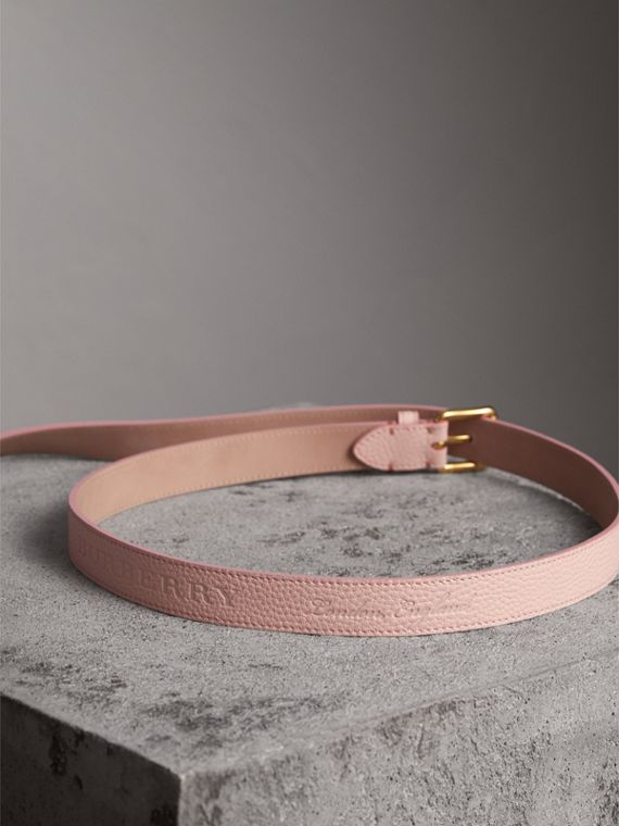 Embossed Leather Belt in Pale Ash Rose - Women | Burberry - cell image 3