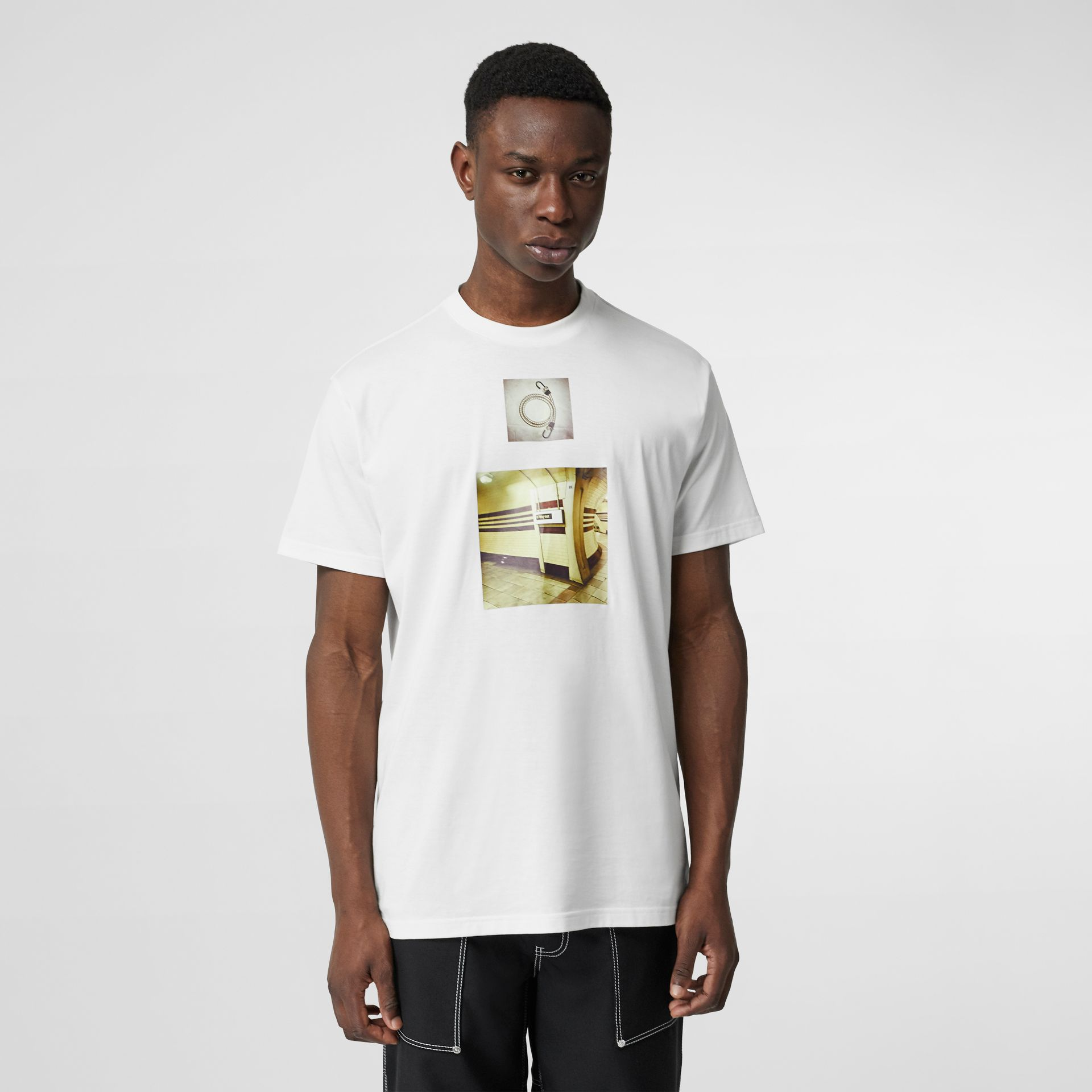 Montage Print Cotton Oversized T-shirt in White - Men | Burberry - gallery image 0