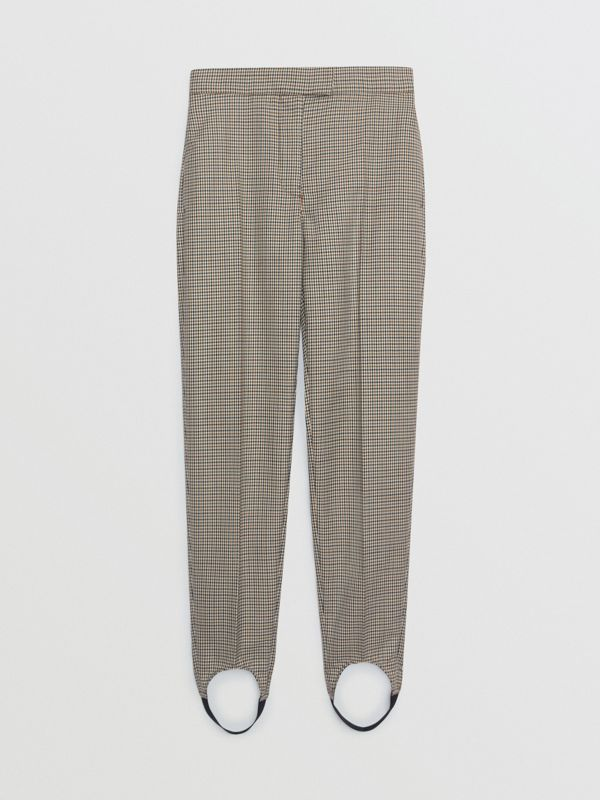 Houndstooth Check Stretch Wool Tailored Jodhpurs in Antique Yellow - Women | Burberry - cell image 3