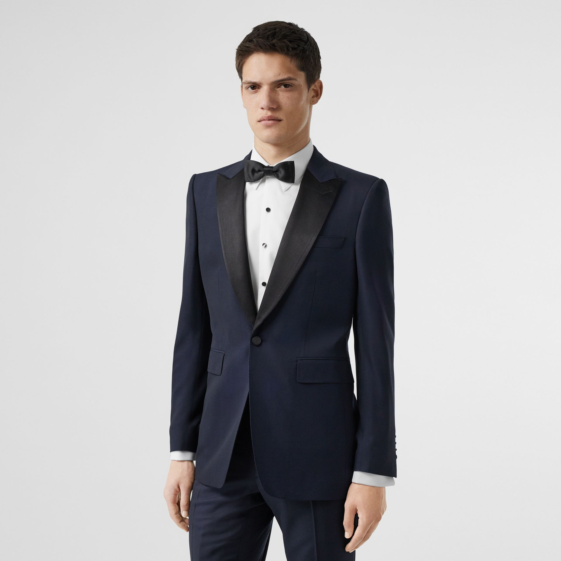 Classic Fit Wool Silk Tuxedo in Navy - Men | Burberry United Kingdom - gallery image 7