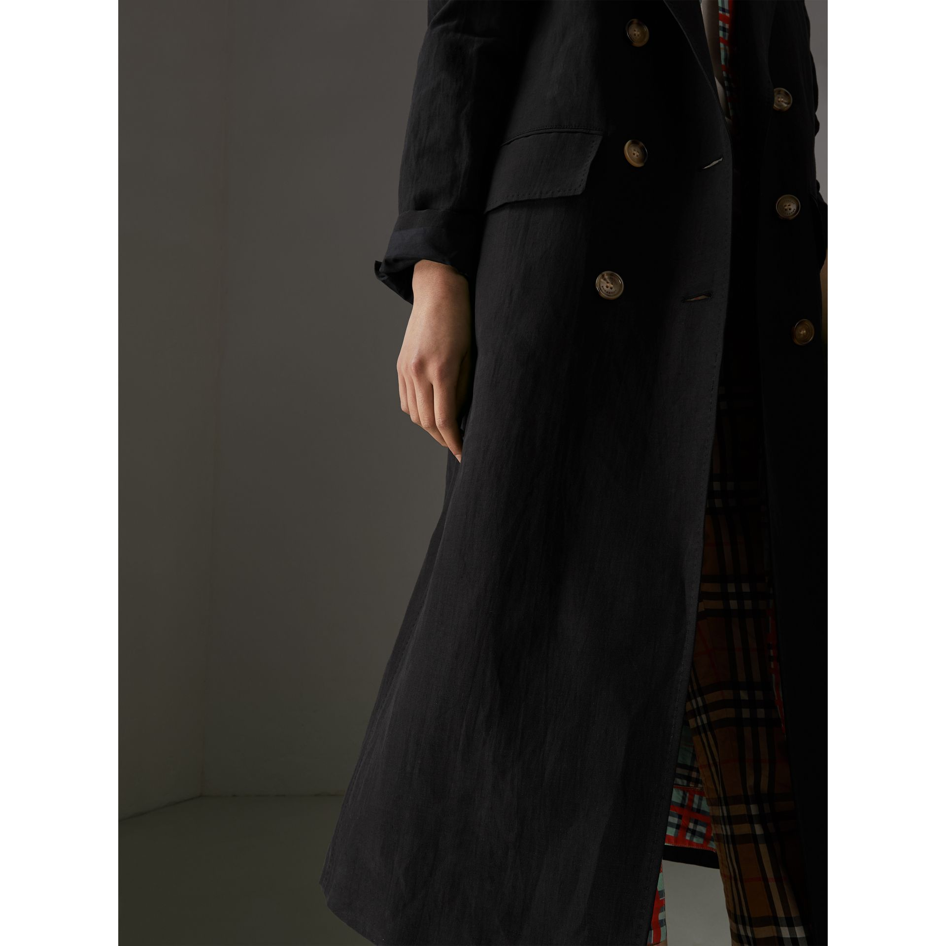 Linen Silk Tailored Coat in Black - Women | Burberry - gallery image 1