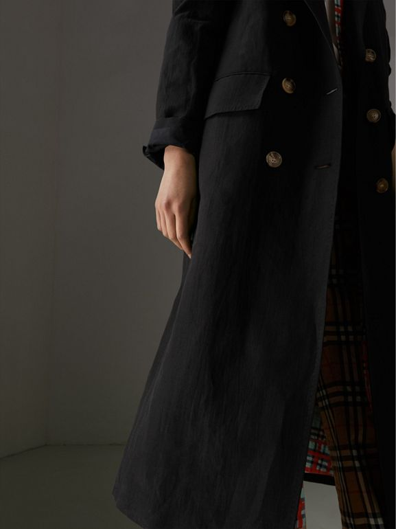 Linen Silk Tailored Coat in Black - Women | Burberry Australia - cell image 1